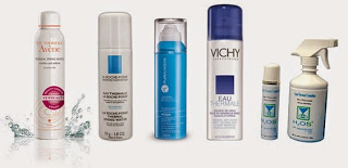Água termal de diferentes fabricantes La Roche Posay, Vichy e outras.