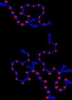Estrutura química do ácido ricinoléico, o principal triglicerídeo do óleo de rícino (mamona).
