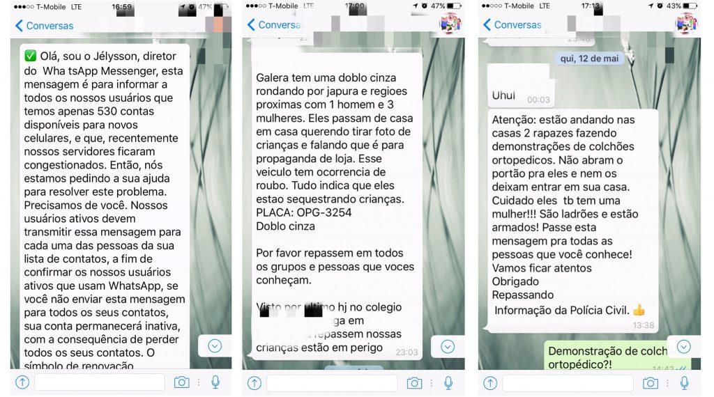 """Colagens de """"correntes"""" de informação enganosa enviadas por WhatsApp"""
