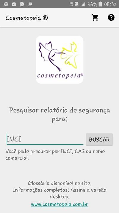 Tela principal do aplicativo Cosmetopeia