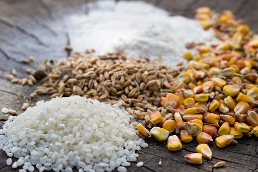 grãos de arroz integral, arroz selvagem, milho e farinha de trigo espalhados sobre uma superfície de madeira.