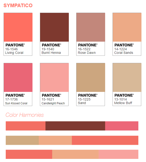 Paleta de cores Sympatico que harmoniza diferentes tons de pele com a cor do ano de 2019 living coral.