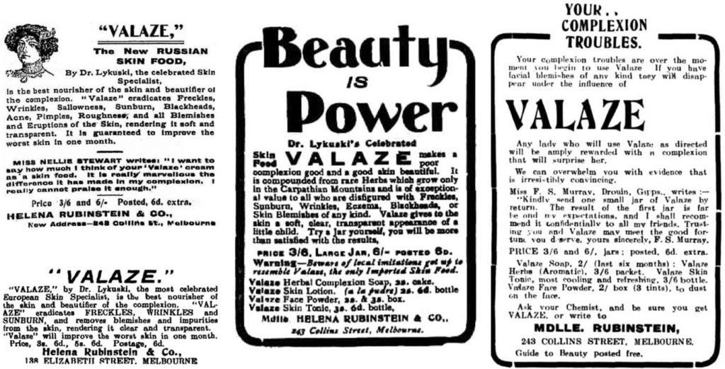 Colagem de anúncios do creme Valaze de Helena Rubinstein.